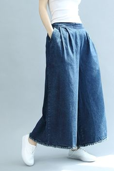 Buy Solid Color Wide Leg Jeans Womans Plus Size Frayed Jeans in Jeans online shop, Morimiss offers Jeans to make you feel comfortable Wide Trousers, Wide Leg Denim, Wide Leg Jeans, Trousers Women, Pants For Women, Straight Cut Pants, Frock Fashion, Pantalon Large, Denim Ideas