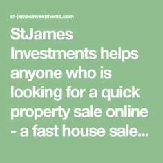 StJames Investments helps anyone who is looking for a quick property sale online - a fast house sale within the London Area, with no fees or hidden charges Property Sale, Investing, Conditioner, London, House, Things To Sell, Home, Haus, London England