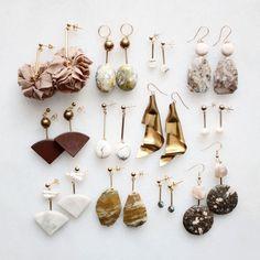 Marble, pearl, feldspar and moonstone earrings