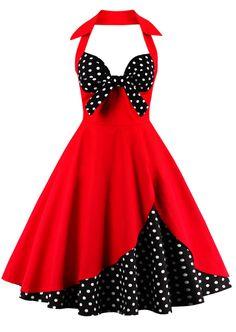 $19.92 Halter Vintage Polka Dot Dress - Red