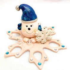 Snowflake Parker Figurine  Polymer Clay StoryBook by KatersAcres, $52.00