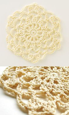 link to ravelry page with PDF of three different doily/flower patterns