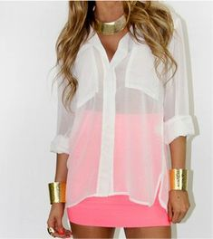 A nice way to spice up a plain white blouse - with a hot pink bandage skirt! Sexaaay. I have a black blouse and will definitely try this!