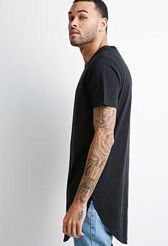Curved-Hem Longline Tee | 21 MEN - 2000117941 Fashion