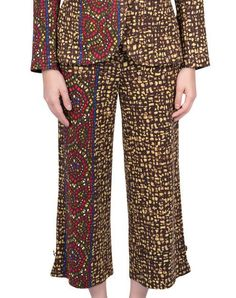 Women Trousers - Mosaic $150.00  Trousers in brown and yellow, ankle-length, high waist and pockets.