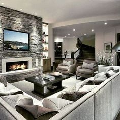 A fireplace is a stunning addition to any home but with so many fireplace designs to pick from finding the proper style may be a small challenge. room design with fireplace Stunning Family Room ideas with Fireplace Living Room Interior, Home Living Room, Living Room Designs, Living Room Decor, Living Room Ideas With Tv, Living Room And Kitchen Together, Family Room Design With Tv, Modern Family Rooms, Kitchen Family Rooms