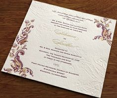 Sindhu Letterpress Indian Wedding Invitation Card Brad and Angelina