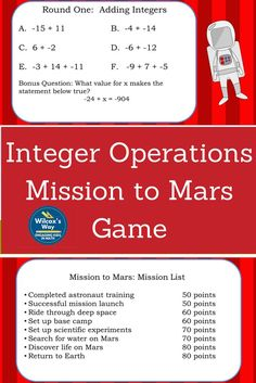 Fun game to practice all integer operations as your class competes to finish missions to Mars. Math 5, 7th Grade Math, Guided Math, Math Teacher, Math Classroom, Math Games, Teaching Math, Math Activities, Teacher Stuff
