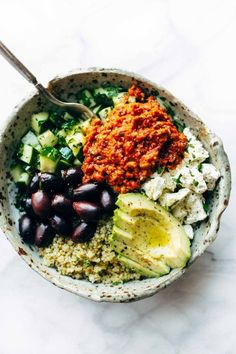 Mediterranean Quinoa Bowl with Roasted Red Pepper Sauce - a 20-minute healthy recipe concept! Use whatever veggies or proteins you have on hand. Gluten free, Vegetarian, Vegan. | http://pinchofyum.com