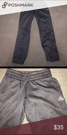 Adidas sweatpants Black marled Adidas sweatpants, only worn a few times!! they are super soft and comfy to lounge around in. in great condition Adidas Pants Straight Leg
