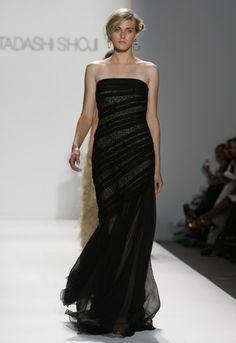 Tadashi black evening gown