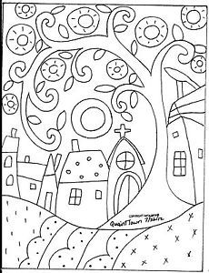 Rug-Hooking-Craft-Paper-Pattern-QUAINT-TOWN-Folk-Art-Primitive-Karla-Gerard