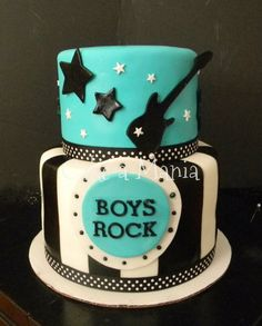 2 tier baby shower for a boy. Cake-a-Mania.com