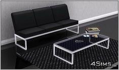 Modern Living Room set: 3 seats sofa plus glass coffee table - 4Sims