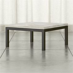 Parsons Travertine Top/ Dark Steel Base 36x36 Square Coffee Table - Crate and Barrel