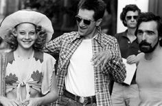 Jodie Foster, Robert De Niro and Martin Scorsese on the set of Taxi Driver (1976)