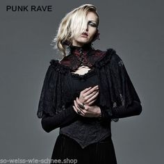 Punk-Rave-Gothic-Vampire-Cape-Umhang-Barock-Kragen-Rot-Victorian-Choker-WGT-Y586
