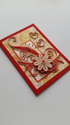 Love Card - Quilled Birthday Card - Happy Birthday Card - Mother's Day Card - Quilling Card - Greeting card