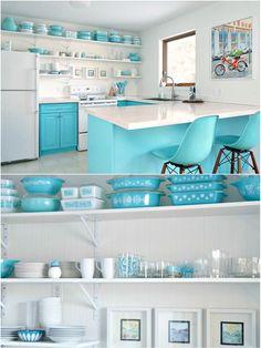 Turquoise Vintage Pyrex Collection // Turquoise Kitchen Designed Around Pyrex // Butterprint, Snowflake, Hazel Atlas Kitchen Utensils, Starburst, Solid Turquoise Pyrex