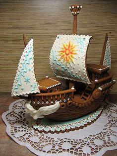 Cake Wrecks - Home gingerbread pirate ship Cool Gingerbread Houses, Gingerbread Village, Christmas Gingerbread House, Christmas Treats, Gingerbread Cookies, Christmas Cookies, Bolo Cake, Cookie House, Cake Wrecks