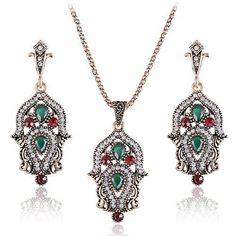 Imitation Vintage Jewelry Sets Bridal Wedding Jewelry Indian Ethnic Turkish Engagement Wedding Accessories