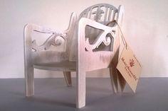 Sedia per bambole in legno effetto Shabby...Euro 19,93
