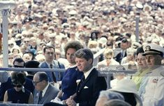 May 27, 1967: Senator Robert Kennedy and his wife, Ethel, attend the ceremony to christen the USS John F. Kennedy at Newport News, Virginia.