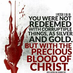 """I Peter 1:18-19 NKJV """"knowing that you were not redeemed with corruptible things, like silver or gold, from your aimless conduct received by tradition from your fathers, but with the precious blood of Christ, as of a lamb without blemish and without spot."""" """