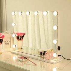 Latitude Run® Nummari Boahaus Matilda Vanity with Mirror & Reviews | Wayfair Lighted Vanity Mirror, Makeup Mirror With Lights, Vanity Set With Mirror, Wall Mounted Mirror, White Vanity With Lights, Light Up Vanity, Built In Vanity, Vanity Mirrors, Dresser Mirror