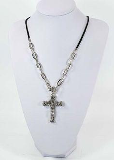 collier homme-femme-croix crucifix gothique-cordon-métal-chaine-Jésus-Christ