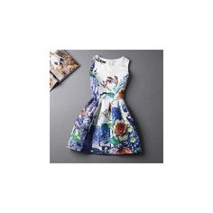Sleeveless Jacquard Printed Dress (895 DOP) ❤ liked on Polyvore featuring dresses, women, pattern dress, royal blue dress, royal blue a line dress, a line dress and print dress