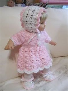 free crochet patterns for bitty baby doll clothes bitty baby crocheted doll clothes bitty baby clothes Crochet Doll Dress, Crochet Doll Clothes, Crochet Doll Pattern, Knitted Dolls, Doll Clothes Patterns, Doll Patterns, Crochet Patterns, Pattern Ideas, Bitty Baby Clothes