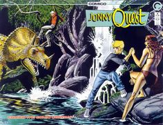 One of the few comic book highlights during the was Comico's adaptation of the classic Hanna Barbara adventure series Jonny Quest . Robot Dinosaur, Real Dinosaur, Jonny Quest Cartoon, Race Bannon, Invisible Monsters, Space Ghost, Old Time Radio, Saturday Morning Cartoons, Old Comics