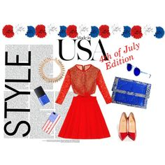 4th of July by styligion on Polyvore featuring Mode, Christian Louboutin, Casetify, Revo and NARS Cosmetics