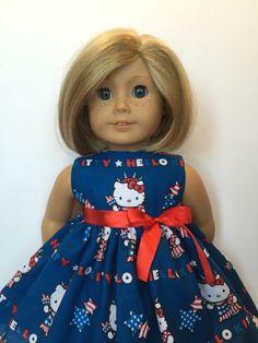 "New Doll Clothes Fit 18"" American Girl Doll Handmade Hello Kitty Patriotic Dress #Handmade"