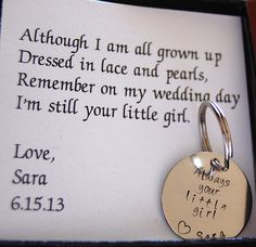 Father of the Bride Gift, Gift for Father of the Bride, Personalized Nickel silver keychain, complete boxed gift set for father of bride. $26.00, via Etsy.
