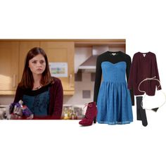 Clara Oswald - The Crimson Horror by roseunspindle on Polyvore featuring New Look, Burberry, Monki, Falke, Renvy, Blue, lace, cardigan, wine and ClaraOswald