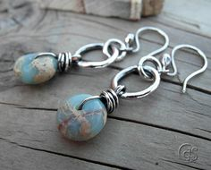 Natural Gemstone Earrings Blue Serpentine by ArtandSoulJewelry, $41.00