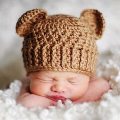 "Crochet...I know this is a little ""bear"" hat...but wouldn't it just be adorable in pink?...even with the little ears?"