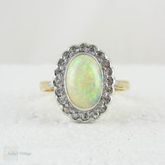 Vintage Opal & Diamond Ring, Large Opal Cabochon with Diamond Halo Dinner Ring…