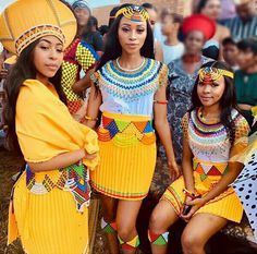 Zulu Patterned Yellow Skirts Beaded Belts Capes Head Bands and Isicholo Hat Zulu Traditional Attire, South African Traditional Dresses, African Traditional Wedding Dress, Traditional Skirts, Traditional Wedding Attire, Traditional Outfits, Traditional Weddings, African Print Skirt, African Print Dresses