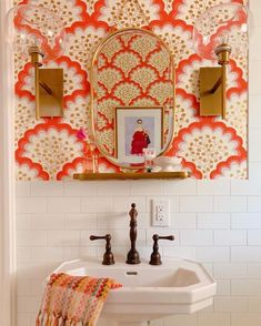 Angelina Coral Wallpapered Bathroom Tilton Fenwick for Hygge West Design by Shauna Glenn Bathroom Inspiration, Interior Inspiration, Bathroom Ideas, Bathroom Organization, Bathroom Designs, Design Inspiration, Bathroom Inspo, Bath Ideas, Shower Ideas
