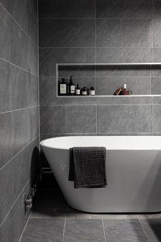 Gray and White Bathroom Tile Idea. 20 Gray and White Bathroom Tile Idea. 40 Gray Shower Tile Ideas and Pictures … Neutral Bathroom Tile, Modern Bathroom Design, Bathroom Interior Design, Bathroom Flooring, Bathroom Cabinets, Bathroom Vanities, Bathroom Curtains, Tiled Bathrooms, Bathroom Tiling