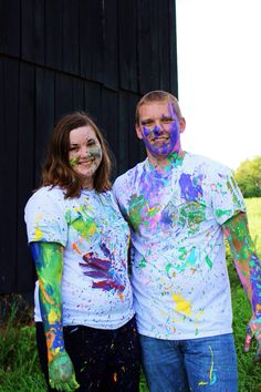 Paint war. Couples pictures. Couples picture ideas. Photography. Carrie McClellan Photography.