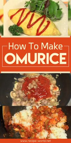 Omurice, or omg-rice, is a Japanese style omelette that is filled with fried rice. It is usually served with ketchup. Omurice Recipe Japanese, Great Recipes, Favorite Recipes, Delicious Recipes, Japanese Style, Japanese Food, Japanese Recipes, Japanese Culture, Cooking