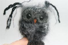 Plush Dark Gray Baby Owl ... knit fuzzy ecofriendly felt wool owl toy (woolcrazy). $22.00, via Etsy.