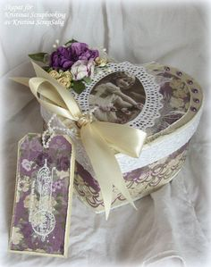 paper mache hearts with scrapbook paper   Altered heart shaped box