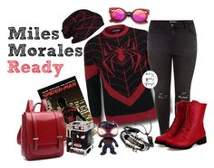 Miles Morales Ready (Spiderman) by curvygeekyfangirl on Polyvore featuring polyvore ZeroUV Funko Marvel Comics fashion style clothing