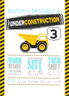 Construction party - love lots of things here. Esp the invite wording