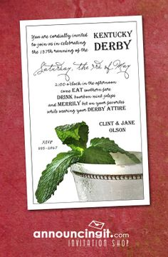 Mint Julep Kentucky Derby Party Invitations | Come see our entire collection at Announcingit.com